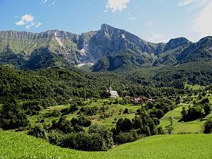 View of Drežnica (Kobarid), Slovenia