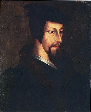 Oil painting of a young John Calvin.