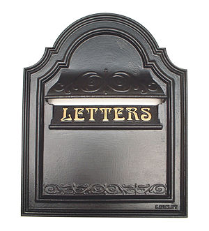 English: This is a cast iron letter box design...