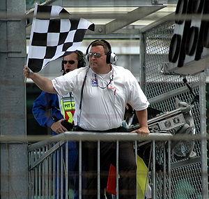 Menards Infiniti Pro Series checkered flag