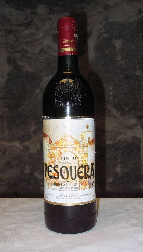 A bottle of Pesquera Tinto Crianza 1995, a win...