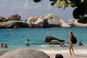 View of the boulders at The Baths in Virgin Gorda