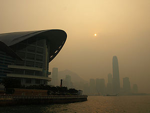 English: Air Pollution in Victoria Harbour in ...