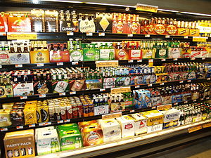 English: A refrigerated beer display at a Whol...