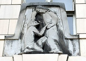 English: Close-up of Eric Gill relief, Moorfie...
