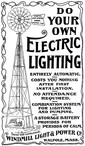 Advertisement for Windmill Electric Power Generating system 1897