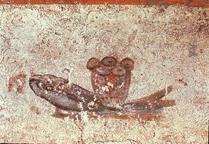 The fish and loaves fresco, Catacombs of San C...