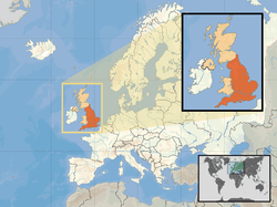 Location of England(orange)–in the European continent(camel &white)–in the United Kingdom(camel)