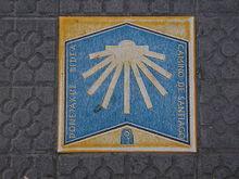Markierung im Gehweg (Bilbao, Baskenland)