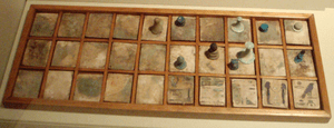 A senet game board and pieces, from the Ancien...