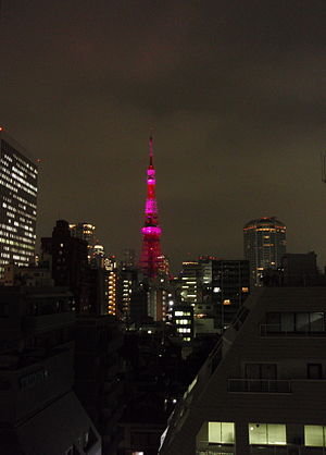 Tokyo Tower lit up for Breast Cancer Awareness...
