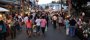 English: The Sunday evening walking street is ...