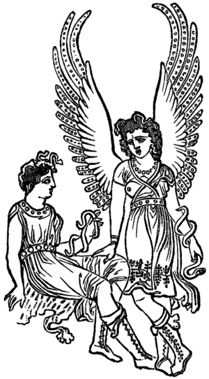 Two Furies, from an ancient vase.