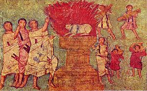 Worshipping to gold calf. Fresco from Dura Eur...