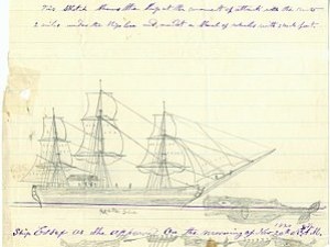 Sketch of the Essex being struck by a whale. S...