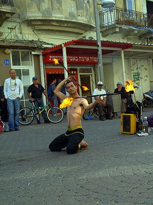 Fire dancer in Tel Aviv, Israel