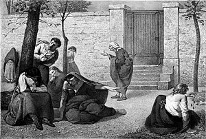 1857, litografía de Armand Gautier. Pacientes en el Hospital de la Salpêtrière. Tomado de Madness: A Brief History (ISBN 978-0192802668). (Photo credit: Wikipedia)