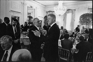 English: Jeremiah Wright and Bill Clinton at 1...