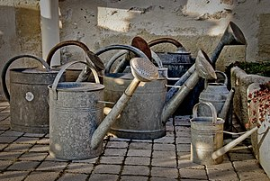 English: A collection of watering cans of asso...
