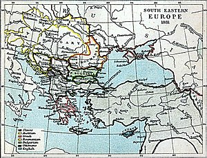 English: Map of south-eastern Europe in 1881 AD.