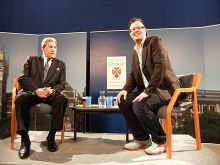 Peters talking to Bryce Edwards as a part of the Vote Chat forum at the University of Otago, 2011