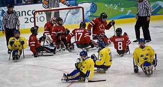 A imagem mostra seis jogadores de uniforme vermelho e quatro de uniforme amarelo, todos sentados em trenós individuais. Ao fundo, vê-se um gol e três árbitros, em pé.