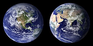 Blue Marble composite images generated by NASA in 2001 (left) and 2002 (right).