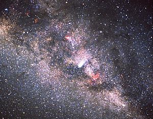 View of the Comet Halley and the Milky Way