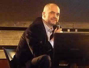 Edi Rama, Albanian politician, giving a talk i...