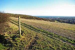 English: Footpath towards Lancing Ring Lancing...