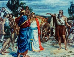 Coloured illustration of a bearded prophet confronting a luxuriously dressed king and queen