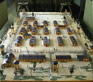 Model of the set used to film the movie The Great Escape. It depicts a smaller version of a single compound in Stalag Luft III. The model is now at the museum near where the prison camp was located.
