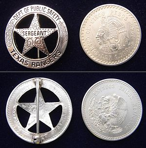 TEXAS RANGERS current badge and MEXICAN coin