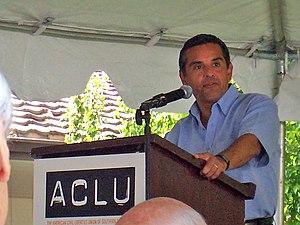 Antonio Villaraigosa speaking at an ACLU event.
