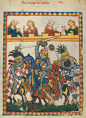 Tournament from the Codex Manesse, depicting t...