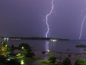 Photo of a double lightning, taken from a balc...
