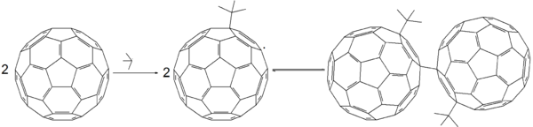 Free radical reaction of fullerene with tert-butyl radical.png