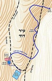 English: Hezekiah's Tunnel map, photo credit: Tamar Hayardeni  עברית: מפת נקבת...