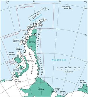 English: Wordie Ice Shelf location within Anta...