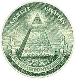 Elemento de un billete de un dólar americano donde figura el Ojo de la Providencia; este símbolo pudo ser invocado como prueba de una conspiración mundial masónica o illuminati.
