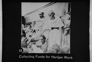 Gandhi collecting funds for harijan work