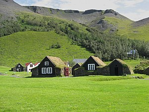 English: houses with grass on the roof, iceland