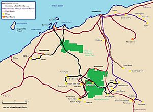 English: Map of the iron ore mines & railways ...
