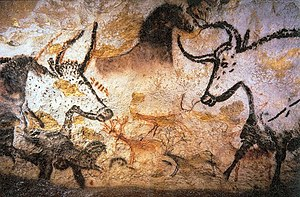 Photography of Lascaux animal painting {| cell...