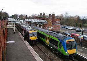 English: Trains to Stansted and Birmingham The...