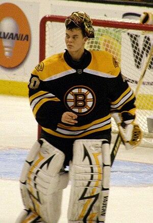 English: NHL Goaltender Tuukka Rask of the Bos...