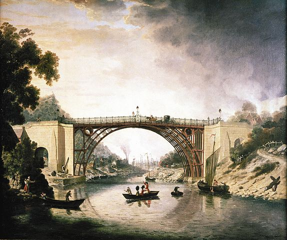 A realistic painting of a metal birdge over a river. The bridge has arched supports so that although the top is level, the supports make a semi-circle, and this is reflected prettily in the water. There are some trees and three people in a rowboat passing under the bridge.