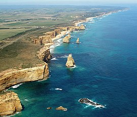 Port Campbell National Park   Wikipedia A192  Port Campbell National Park  Australia  Twelve Apostles sea stacks  from helicopter