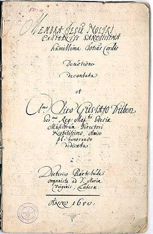 Title Page of Dieterich Buxtehude's Membra Jes...