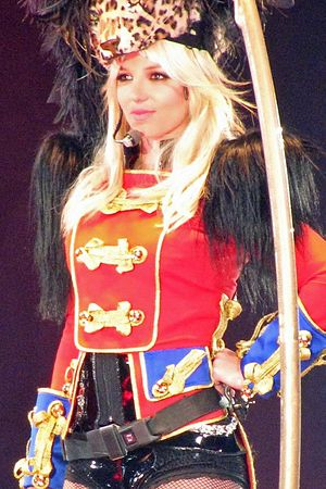 Spears performing during her 2009 world tour